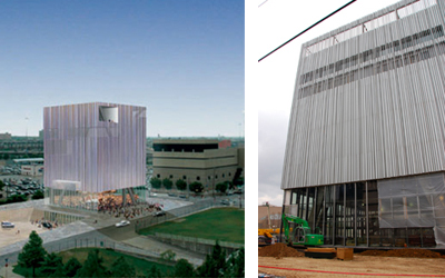 Dee and Charles Wyly Theater: rendition (left) and currently under construction (right)